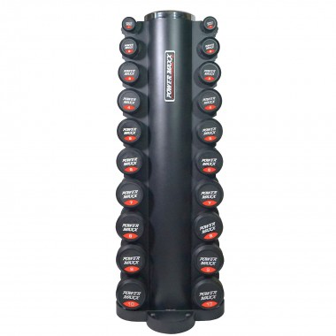 Power MAXX 1-10kg Round Rubber Dumbbell Set with 10 pair Stand