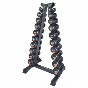 Power Maxx 1-10kg Round Rubber Dumbbell Set A Stand