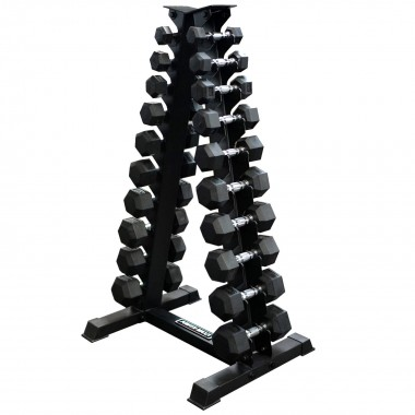 1-10kg Rubber Hex Dumbbell Set + A Stand