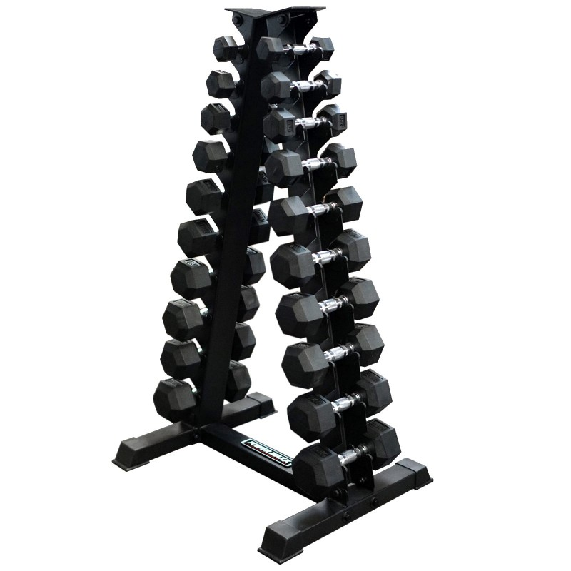 1-10kg Rubber Hex Dumbbell Set + A Stand ⋆ Quality, Cheap