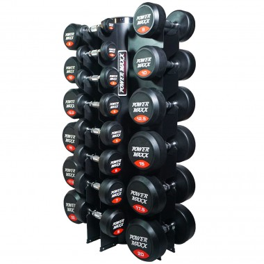 Power Maxx 1-20kg Round Rubber 14 pair Dumbbell Set