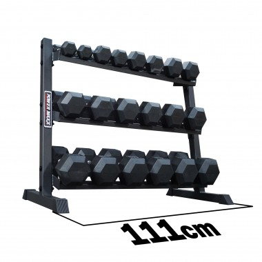 Power Maxx 2.5 kg - 25 kg Rubber Hex 10 Pair Dumbbell Set with Compact 3 Tier Rack
