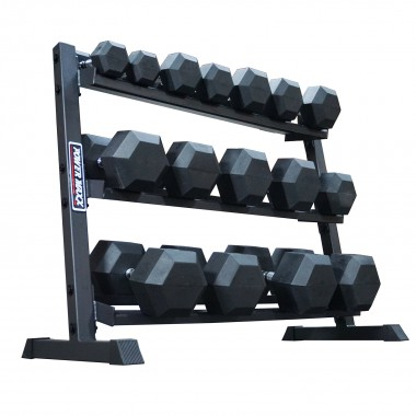Power Maxx 5 kg - 40 kg Rubber Hex Dumbbell Set 8 Pair Compact Rack