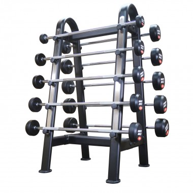 PowerMaxx 10-40 kg Fixed Straight Barbell Set - 10 bars with Stand