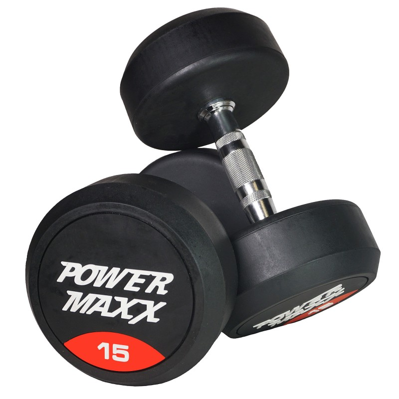 Rubber Dumbbell Set: 1-20kg Round Rubber 14 Pair Dumbbell Set