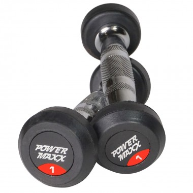 1kg  Round Rubber Dumbbell Pair