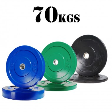 70kg Olympic Bumper Plate Package
