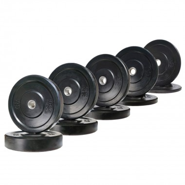 150kg Black Olympic Bumper Weight Plate Set