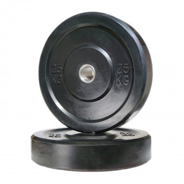 25kg Olympic Black Bumper Weight Plate