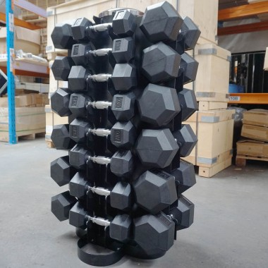 Econo 1-20kg Rubber Hex 14pr with Rack