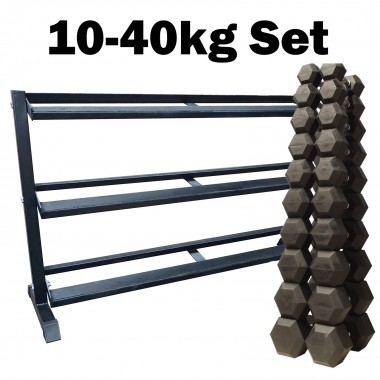 Econo 10-40kg Rubber Hex Set 10 pr RACK