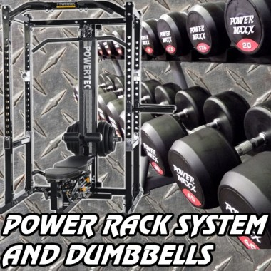 Powertec Power Rack System and Dumbbell