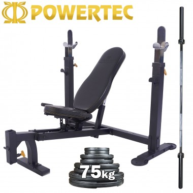 POWERTEC Bench Press Barbell and Weights Package