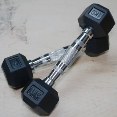 1 kg Rubber Hex Dumbbell Pair DISCOUNTED
