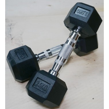 2.5 kg Rubber Hex Dumbbell Pair DISCOUNTED