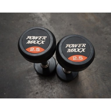 Power Maxx 2.5kg Round Rubber Dumbell (Pair) - Floor Models