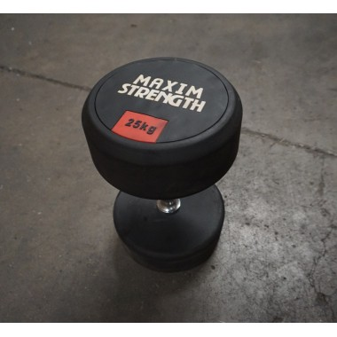 Power Maxx 25kg Round Rubber Dumbell (Single) - Floor Model