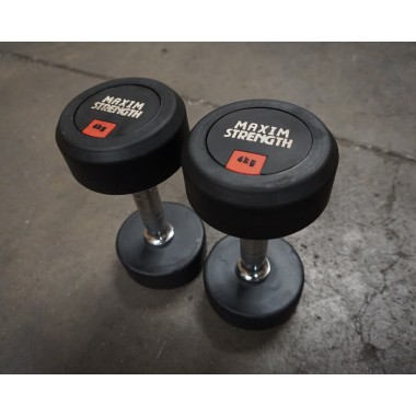 Power Maxx 4kg Round Rubber Dumbell (Pair) - Floor Models