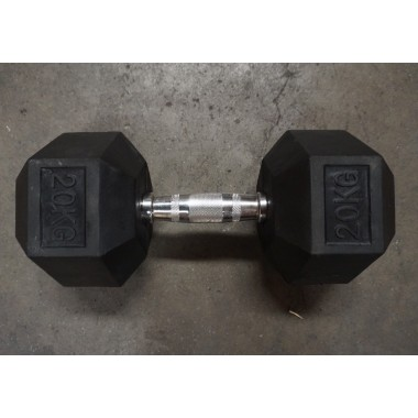 20kg Rubber Hex Dumbell (Single) - Floor Model