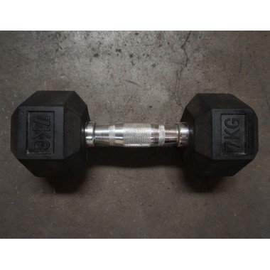 7kg Rubber Hex Dumbell (Single) - Floor Model