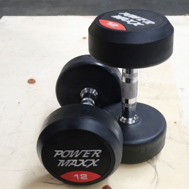 DISCOUNTED 12kg Round Rubber Dumbbell Pair