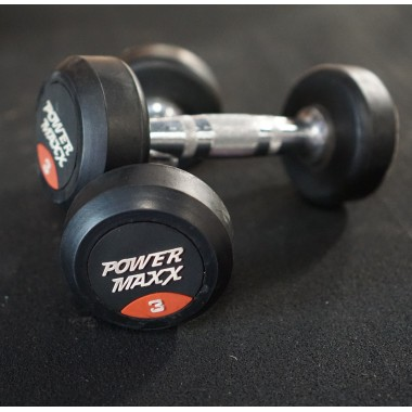 3kg Round Rubber Dumbbell Pair - Floor Stock