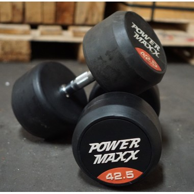 42.5kg Round Rubber Dumbbell Pair - Floor Stock