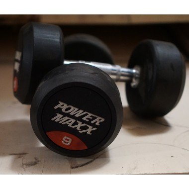 9kg Round Rubber Dumbbell Pair - Floor Stock
