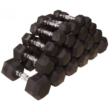 1-10kg Rubber Hex Dumbbell Set - No stand