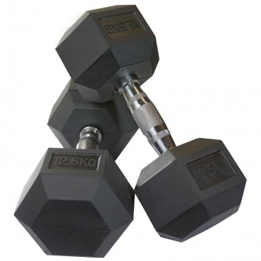 12.5kg Rubber Hex Dumbbells (Pair)