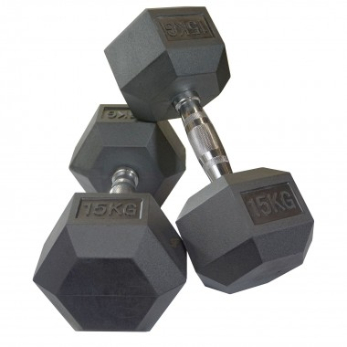 15kg Rubber Hex Dumbbells (Pair)