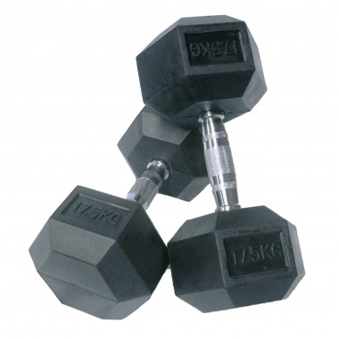 17.5kg Rubber Hex Dumbbells (Pair)