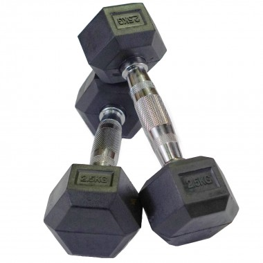2.5kg Rubber Hex Dumbbells (Pair)
