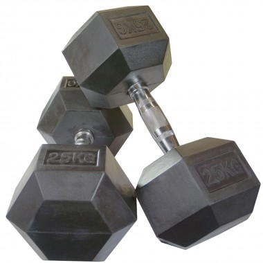 25kg Rubber Hex Dumbbells (Pair)