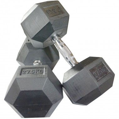 27.5kg Rubber Hex Dumbbells (Pair)