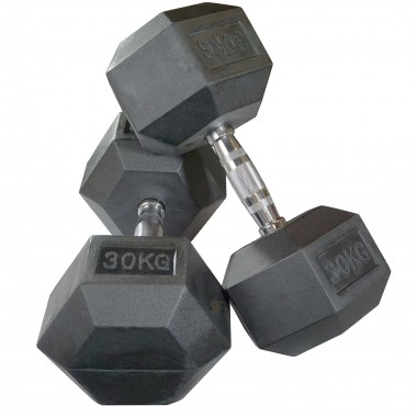 30kg Rubber Hex Dumbbells (Pair)