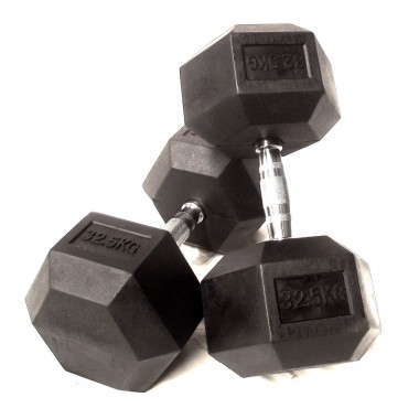 32.5kg Rubber Hex Dumbbells (Pair)
