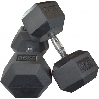 35kg Rubber Hex Dumbbells (Pair)