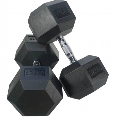 37.5kg Rubber Hex Dumbbells (Pair)