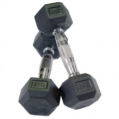 3kg Rubber Hex Dumbbells (Pair)