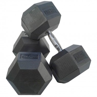 42.5kg Rubber Hex Dumbbells (Pair)