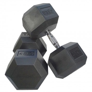 45kg Rubber Hex Dumbbells (Pair)