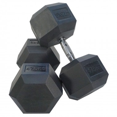 47.5kg Rubber Hex Dumbbells (Pair)