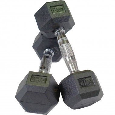 4kg Rubber Hex Dumbbells (Pair)