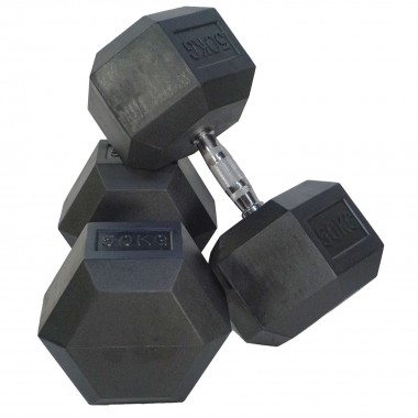 50kg Rubber Hex Dumbbells (Pair)