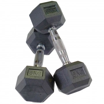 Rubber Hex 5 Kg Dumbbell Pair