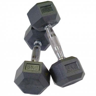 5kg Rubber Hex Dumbbells (Pair)