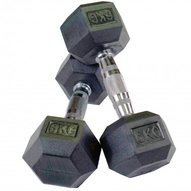 6kg Rubber Hex Dumbbells (Pair)