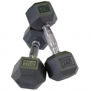 7kg Rubber Hex Dumbbells (Pair)