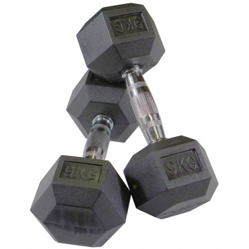 Rubber Hex 9 Kg Dumbbell Pair